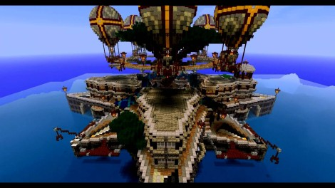 Amazing minecraft build floating over the ocean